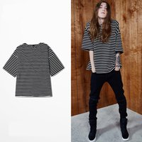 Wholesale Male Half Tee Shirts - 2017 NEW kanye mens t shirts oversize striped men's tees half sleeve loose male tops hip hop streetwear