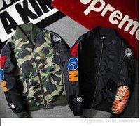 Wholesale Cheap Active Hoodies - 2017 hoodies for Men WGM Embroidery Shark MA1 Flight Male Baseball Service US Air Force Pilot Jacket suprem hige cheap