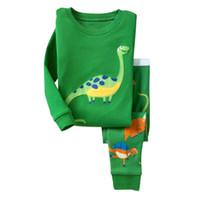 Wholesale Dinosaur Pajamas - New Children Cotton Pajamas Long Sleeve Dinosaur Pattern Comfort Big Boy Girls Sleeper Children Kids Pajamas Sets