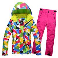 Wholesale Thick Black Female Models - 2017 skiwear suit female models thick warm windproof waterproof outdoor jacket ski pants women suits snowboard jacket 260cy