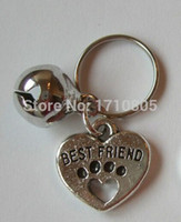 Wholesale Fashion Dog Accessories - 50pcs Fashion Vintage Silver Best Friend Dog Paw&Mix Bell Charm Anti-Theft Keychain Gift Fit Key Circle Accessories Jewelry A259