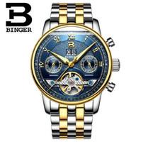 Wholesale Binger Men Watch - Switzerland Binger 2017 New Watches Man Top Luxury Brand Hot Design Military Sports Wristwatches Automatic Men Full Steel Watch