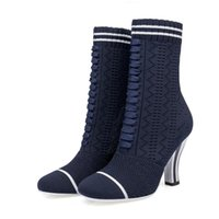 Wholesale Runway Boots - Fashion Women Runways Booties Stretch Knitted Round Toe High Heels Sock Boots Slip-On Ankle Boots Shoes Woman Size 34-39EU