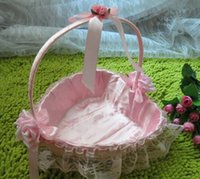 Wholesale Gift Baskets Weddings - Wedding Ceremony Party Decoration Lace pink Heart-shaped Basket Bowknot Rose Flower Basket Girls Basket Wedding Party Supplies Gifts D01