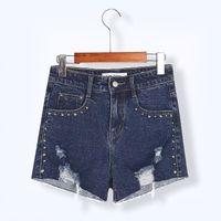 Wholesale Short Rivet Jeans - Hot Sale Plus Size Women's Hole Short Jeans for Women 2017 Summer Fashion Rivet Hole Distressed Elastic Big Jeans Shorts Vintage Denim
