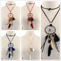 Wholesale Weaved Necklaces - Retro Dreamcatcher Necklace With Feathers And Tassel Hand-Woven Dream Catcher Bears Tassel Long Sweater Chain Necklace