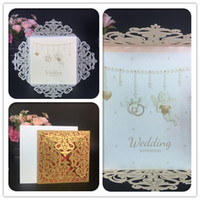 Wholesale Invitations Folded Envelopes - Cheap laser cut Gold Silver wedding invitations cards hollow personalized Engagement invitation cards with insert & envelope free shipping
