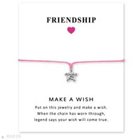 Wholesale Just Star Wholesale - (10 pcs lot)Antique Silver Stars Just For You Charm Bracelets & Bangles for Women Girls Adjustable Friendship Statement Jewelry with Card