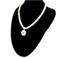 Wholesale Popcorn Silver Chain - New Imitation Pearls Beads Snap Necklace For Women With Elegant Pendant Fit DIY 18MM Ginger Snap Buttons Jewlery Wholesale ZG020