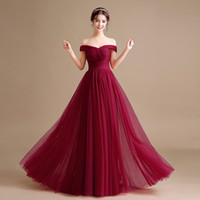 Wholesale Off Shoulder Tulle A Line Evening Dress Long New Evening Gowns Elegant Party Dress Lace Up