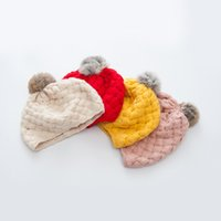 Wholesale Baby Boy Beret Hats - The Tide In Autumn And Winter Hat Girls Knit All-match Treasure Wool Beret Newborn Photography Props Baby Hat