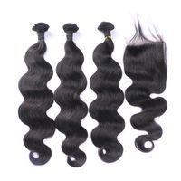 insan saçı üç parçalı kapanır toptan satış-Kapatma Ile 3 Demetleri 4 * 4 İsviçre Dantel Ücretsiz Orta Üç Bölüm Virgin Vücut Dalga İnsan Saç Uzantıları