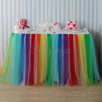 Wholesale Textile Skirt - Colorful Rainbow Style Tulle Tutu Table Skirt 100Cm X 80Cm For Wedding Favors Party Baby Shower Decoration Home Textile