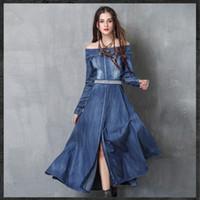 Wholesale Belt Vintage Sale - Fashion Women 's Autumn New Denim Dress Retro Embroidered Belt Long Sleeve Dress Hot Sale Idyllic Casual Dresses.0.52KG Pieces