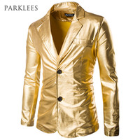 Wholesale Men Shiny Blazer - Wholesale- Gold Shiny Blazer Men Coated Metallic Night Club Mens Suit Jacket Blazer Casual Slim Fit Hip Hop Costumes Singer Dancer Blazers