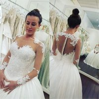 Wholesale Lace Bodice Princess Wedding Dress - Illusion Bodice 2017 Vintage A Line Wedding Dresses Sheer Long Sleeves Lace Appliques Princess Bridal Gowns For Garden Country Custom Made