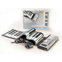 yukarı klavye toptan satış-61 Tuşlar Esnek Synthesizer El Rulo Roll-Up Taşınabilir USB Yumuşak Klavye Piyano Hoparlör MIDI MIDI Inşa Elektronik Piyano