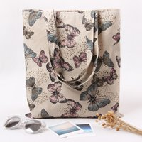 Atacado- YILE Cotton Linen Eco Reusável Shopping Shoulder Bag Tote Butterfly L230 NOVO