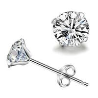 Wholesale cool earrings for men - Korean simple silver plated stud earrings for women men round small zircon earrings beautiful cz diamond cool jewelry wholesale