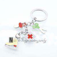 Wholesale Key Chain Nurse - Enamel Keys Keychain Nurse Medical Lot Keyring Fashion Key Chain Set Shopping Spree Charm Pendant Trinket Gift Key_056