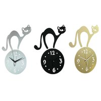 Wholesale High Quality Wall Clocks - high quality 3D mirror wall stickers clock Creative Home Decor DIY cartoon cat Carved bedroom Removable Decoration Stickers 2017 wholesale