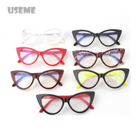 Wholesale Sexy Lens - Wholesale-Hot Fashion Retro Sexy Women Eyeglasses Frame Cat Eye Clear Lens lady Eye Glasses Drop free Shipping