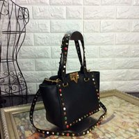 Wholesale Genuine Leather Shoulderbag - women's rivet colorfull gemstome handbags top luxury quality bag female's famous brand designer shoulderbag bolsa feminina