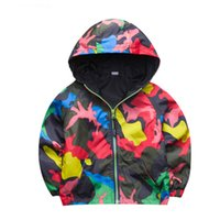 Wholesale Boys Trench - 80-140cm Camouflage Spring Outerwear Children Hooded Jacket For Boys Kids Girls Trench Coat Hooded Windbreaker Sport Suit