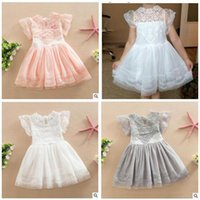 Wholesale Dress Dhl - Girls Dresses Princess Summer Kids Clothing Baby Lace Flower Vestidos Para Ninas Kids Petal Sleeve Party Dresses For Girls DHL Free Shipping