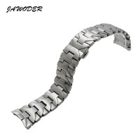 Wholesale End Brush - JAWODER Watchband 24mm Men Pure Solid Curved End Stainless Steel Brushed Watch Band Strap Bracelets for LUMINORPAM 00161
