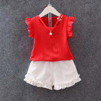 Wholesale Necklaces Girls Chinese - Baby girls chiffon suits 2017 summer pearl necklace shirt+white shorts 2pcs sets korean style kid clothing outfit