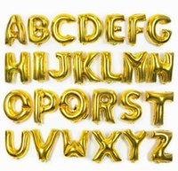 Wholesale Letter Z Balloons - 1pcs 16 inch 0~9 A ~Z number letter alphabet foil balloons free shipping shining gold silver pure blue pink  rose gold
