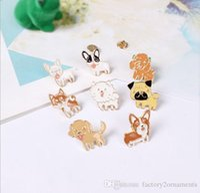 Wholesale Dog Poodles - 2017 Poodle Pomeranian Corgi Bulldogs Dog Brooches Hard Enamel Pin Lapel Pin Badge Gift Christmas gift