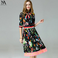 Wholesale Wide Skirts - New Arrival 2017 Women's Turn Down Collar Half Sleeves Bow Detailing Printed Shirt with Pleated Floral Skirt Elegant Runway Twinsets