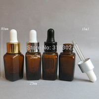 Wholesale 15ml amber dropper bottle - 200 lot 15ml Square Amber Glass Essential Oil Bottle With Dropper, 1 2OZ Amber Glass Dropper Bottle