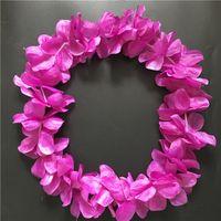 Wholesale Wholesale Festive Wreaths - 100pcs Fushia Hawaiian Hula Leis Festive Party Garland Necklace Flowers Wreaths Artificial Silk Wisteria Garden Hanging Flowers