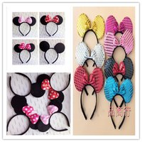 Wholesale Minnie Red Ears - wholesale COSPLAY Headwear Mickey Minnie mouse ears Headbands Hair accessories for Party Children and adults hairband girl ree shipping