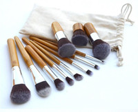 Wholesale Eyeshadow Brush Bamboo - 11 Pcs Bamboo Handle Makeup Eyeshadow Blush Concealer Brush Set with Blender Makeup Sponges #Q