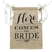 Wholesale Burlap Garland - Wholesale- Free Shipping 1 X Handmade Bride To Be Bunting Garland Burlap Wedding Banner Bridal Shower Party Decoration