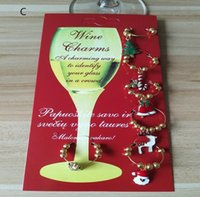 Wholesale decor charms resale online - Hot New Year Christmas Wine Glass Decoration Charms Party Cup ring Table Decorations Xmas Pendants Metal Ring Decor Festive Party Supplies