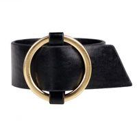 Wholesale Friendship Bracelets Jewelry - Wholesale- 2017 New Fashion Big Alloy Circle Wide Wrist Leather bracelets & bangles Friendship Bracelets Jewelry for Women Men YWQR2222