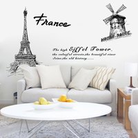 Wholesale Wall Background Sticker Paris - YCT-AM9145 Paris Tower wall stickers living room sofa bedroom background decorative painting self-adhesive waterproof PVC wallpaper
