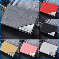 Leather wholesale business card boxes canada best selling leather high grade pu leather stainless steel women men business credit card holder metal card case box 9 colors reheart Image collections