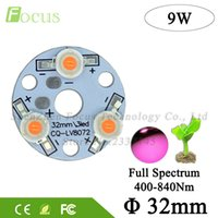 Wholesale 32mm led - Wholesale- High Power 9W Full Spectrum 400nm-840nm Plant Grow Light PCB LED with 32MM Base For Plant Vegetable Flower Fruit Growing