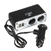 car charger оптовых-Новый 2 USB порт зарядное устройство 2 Способ автомобильное зарядное устройство прикуривателя Splitter адаптер