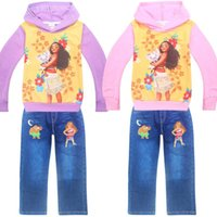 Wholesale Girls Leopard Hoody - girls moana vianan Hoodie Sweater Hoody 2pc set long sleeved cotton purple & rose red hooded coat tshirt with zipper & denim blue pants