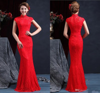 Wholesale Gold Cheongsam Wedding Dress - High Quality High Neck Sleeveless Chinese Mermaid Cheongsam Wedding Dresses 2017 Floor Length Zipper Back Red Lace Wedding Dress Bridal Gown