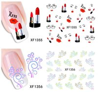 Wholesale Lips Nail Art Decals - Red Lip pattern Nail Water Decals Fashion Girl Lipstick Nail Art Sticker Transfer Stickers free shipping