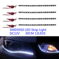 10pcs 30CM SMD5050 12leds Flexible Strip LED Daytime Running Light étanche IP67 DRL Car décoratif bande Light Bar lampe