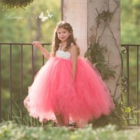 Wholesale Cheap Tutu Dresses For Kids - Coral Tulle Tutu Pretty Pageant Dresses for Girls 2017 Hand Made Flower Girl Dresses Cheap Fashion Kids Birthday Party Ball Gowns